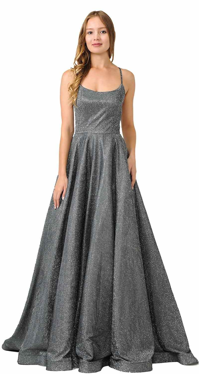 c2fa0d20560 Poly USA 8458 Black/Silver Glitter Long Prom Dress with Pockets ...