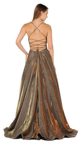 Bronze Glitter Long Prom Dress with Pockets