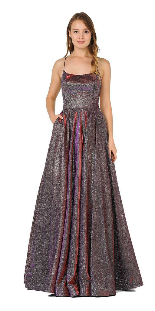Red/Purple Glitter Long Prom Dress with Pockets