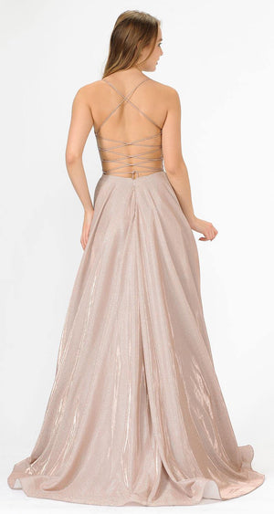 Rose Glitter Long Prom Dress with Pockets