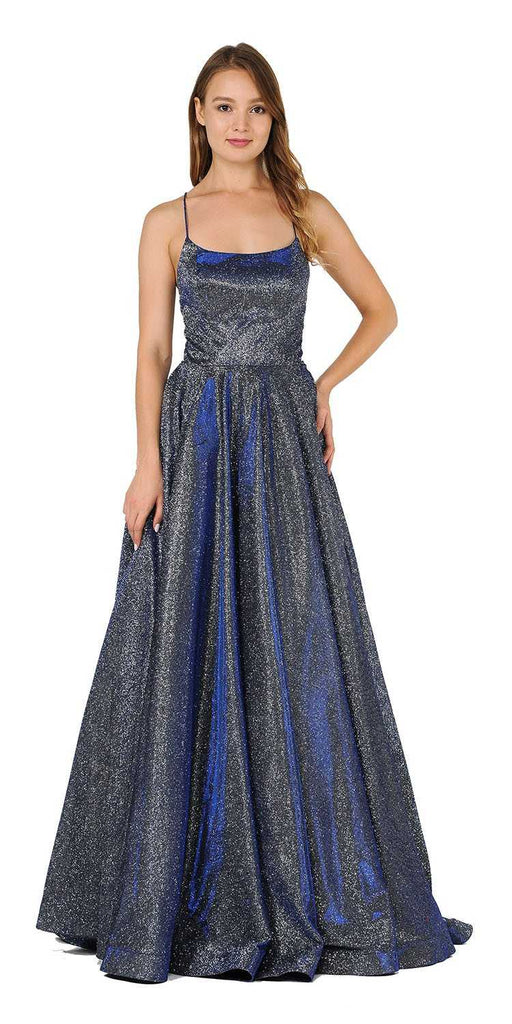 Royal Blue Glitter Long Prom Dress with Pockets