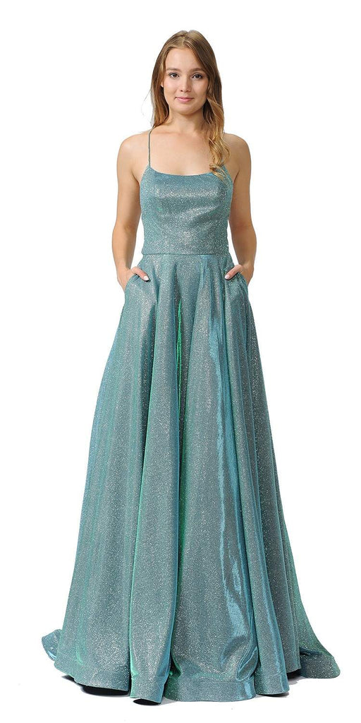 Teal/Green Glitter Long Prom Dress with Pockets