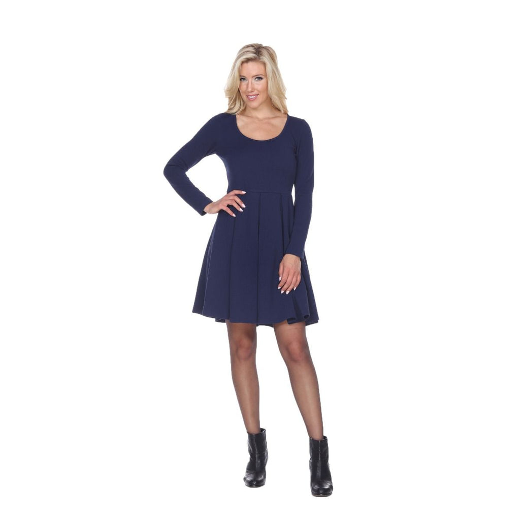 Jenara Dress Navy Blue Short Fit/Flare Dress Long Sleeves