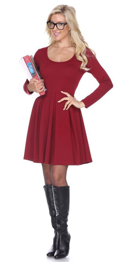Jenara Dress Burgundy Short Fit/Flare Dress Long Sleeves
