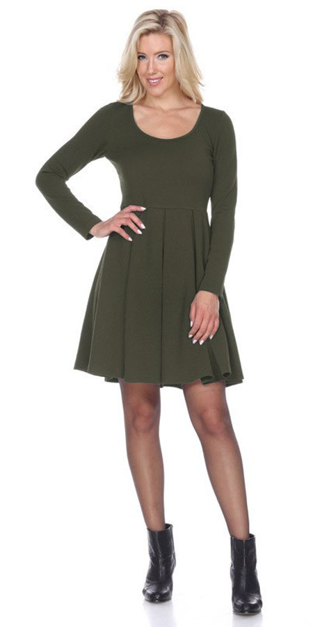 Jenara Dress Olive Green Short Fit/Flare Dress Long Sleeves