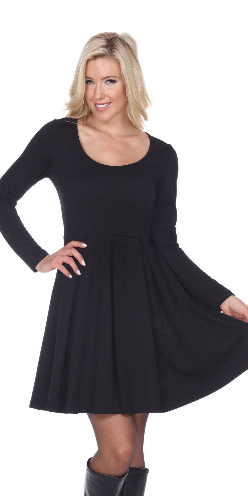 a75158e9a8c Jenara Dress Black Short Fit/Flare Dress Long Sleeves ...