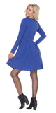 Jenara Dress Royal Blue Short Fit/Flare Dress Long Sleeves