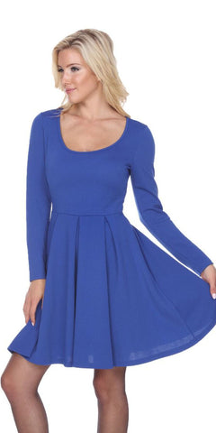 Plus Size Crystal Fit/Flair Skater Dress Royal Blue Short Scoop Neck