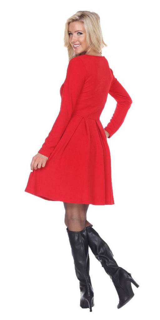 Jenara Dress Red Short Fit/Flare Dress Long Sleeves