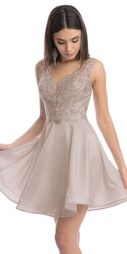 Metallic Mocha Appliqued Homecoming Short Dress Sleeveless