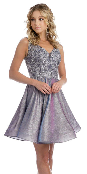 Metallic Purple Appliqued Homecoming Short Dress Sleeveless