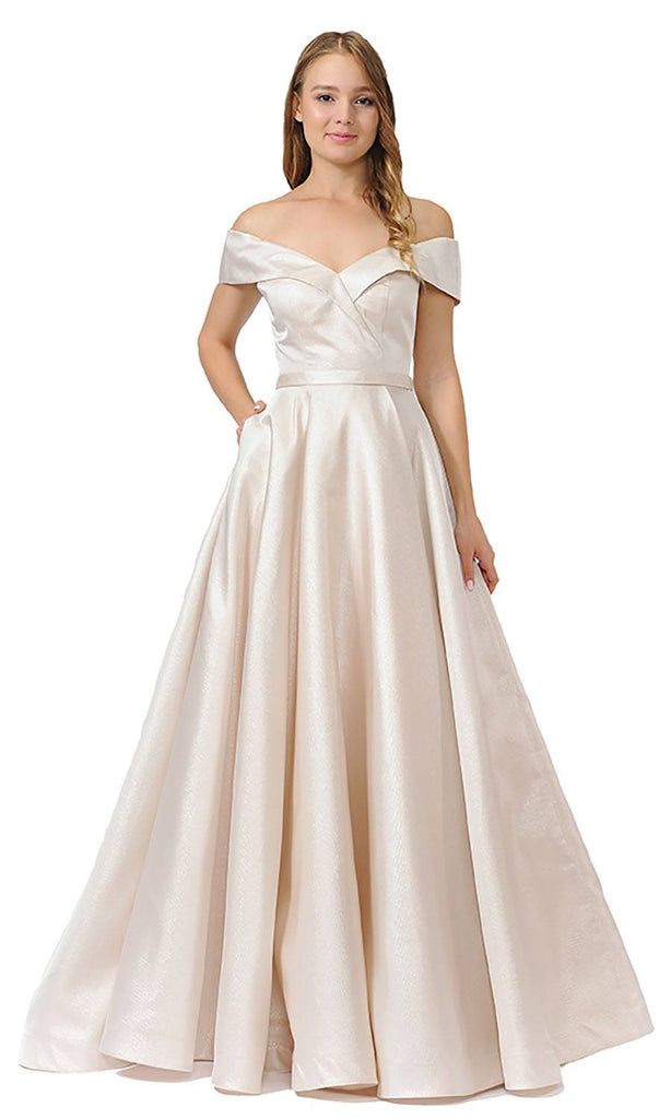 Champagne Off-Shoulder Long Prom Dress with Pockets