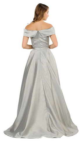 Gray Off-Shoulder Long Prom Dress with Pockets