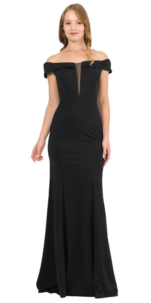 Off-Shoulder Black Long Formal Dress with Sheer Cut-Out Bodice