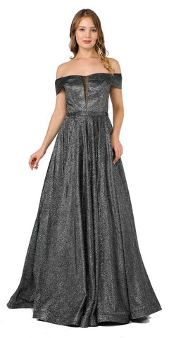 Black/Silver Off-Shoulder Long Prom Dress Sheer Cut-Out Bodice
