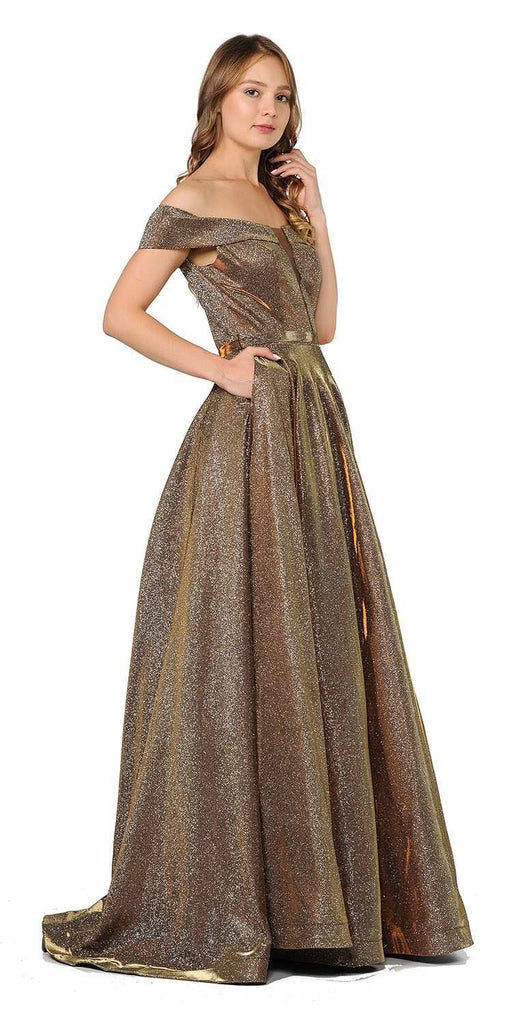 Bronze Off-Shoulder Long Prom Dress Sheer Cut-Out Bodice