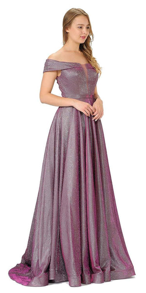 Magenta Off-Shoulder Long Prom Dress Sheer Cut-Out Bodice