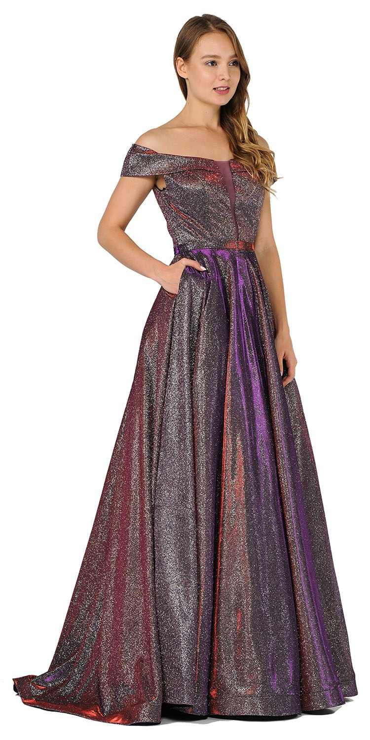 3569d1580919 Poly USA 8464 Red Purple Off-Shoulder Long Prom Dress Sheer Cut-Out ...
