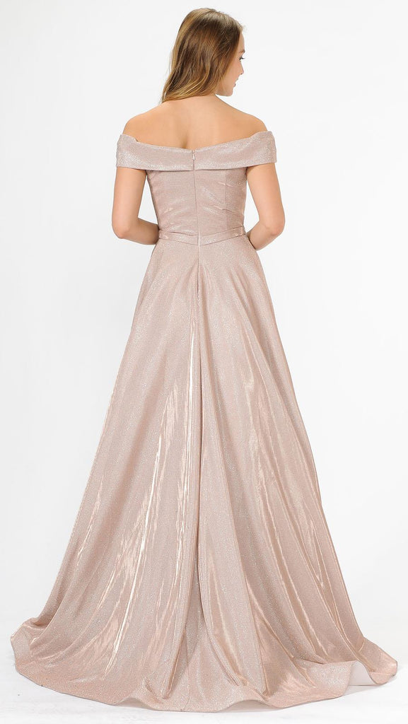 Rose Off-Shoulder Long Prom Dress Sheer Cut-Out Bodice