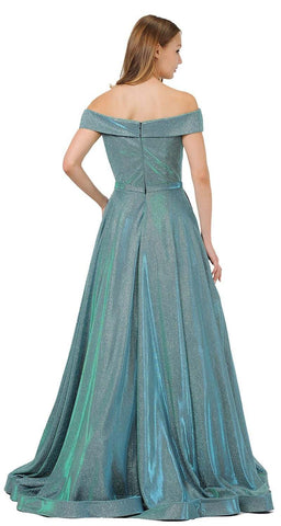 Teal Green Off-Shoulder Long Prom Dress Sheer Cut-Out Bodice