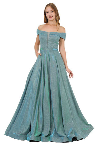 Royal Blue Off-Shoulder Tiered Mermaid Prom Gown with Appliques