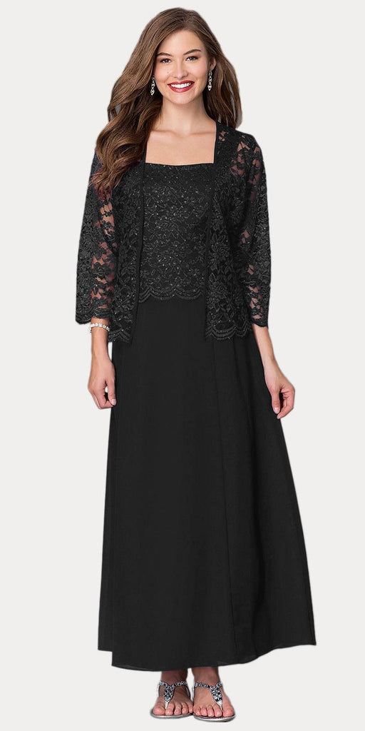 Long Chiffon Black Mother of Groom Dress Lace 3/4 length Sleeve Jacket