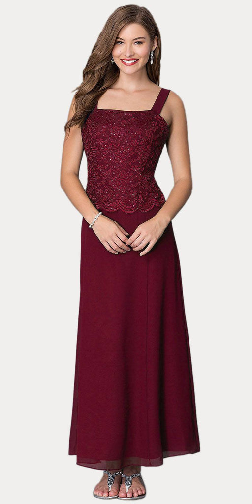 Long Chiffon Burgundy Mother of Groom Dress Lace 3/4 length Sleeve Jacket