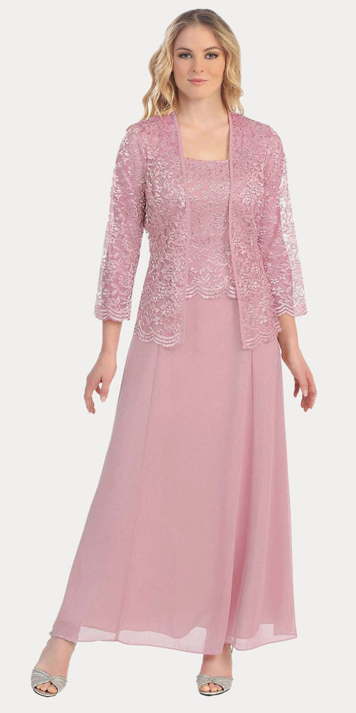 Long Chiffon Dusty Rose Mother of Groom Dress Lace 3/4 length Sleeve Jacket