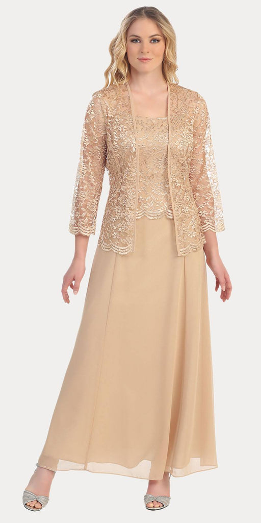 Long Chiffon Gold Mother of Groom Dress Lace 3/4 length Sleeve Jacket