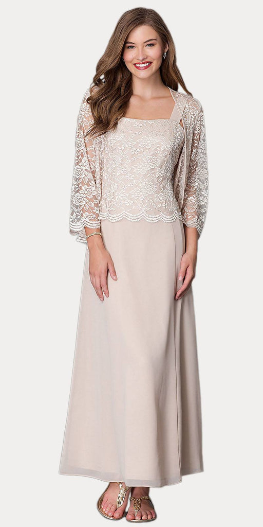 Long Chiffon Khaki Mother of Groom Dress Lace 3/4 length Sleeve Jacket