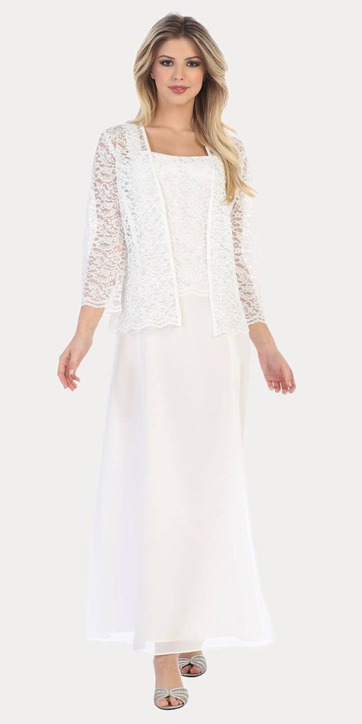 Long Chiffon Off White Mother of Groom Dress Lace 3/4 length Sleeve Jacket