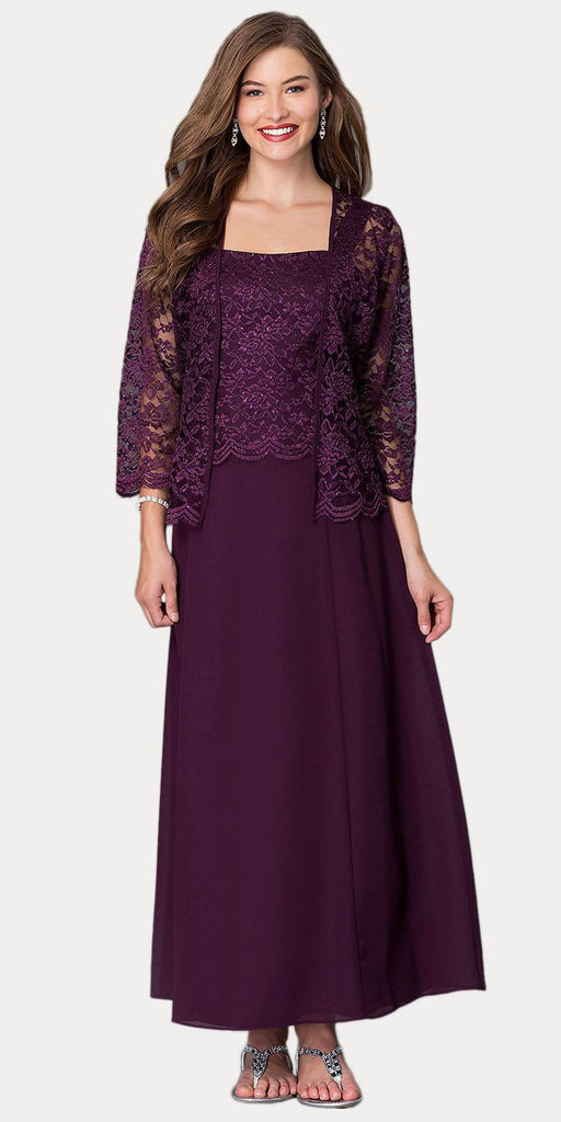 Long Chiffon Plum Mother of Groom Dress Lace 3/4 length Sleeve Jacket