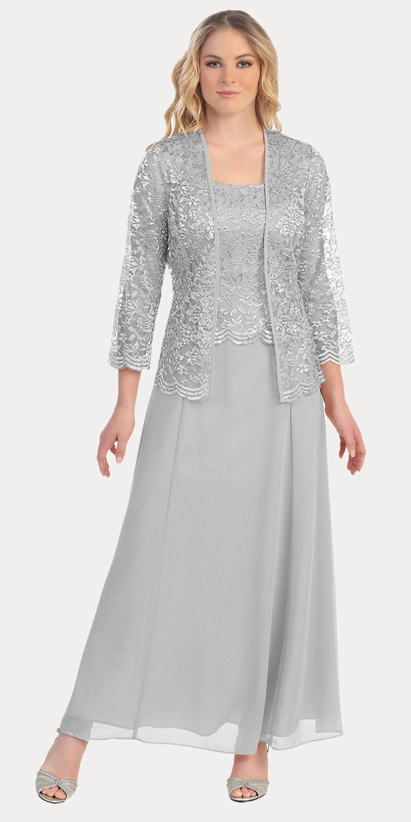 Long Chiffon Silver Mother of Groom Dress Lace 3 4 length Sleeve Jacket 8e49f0199