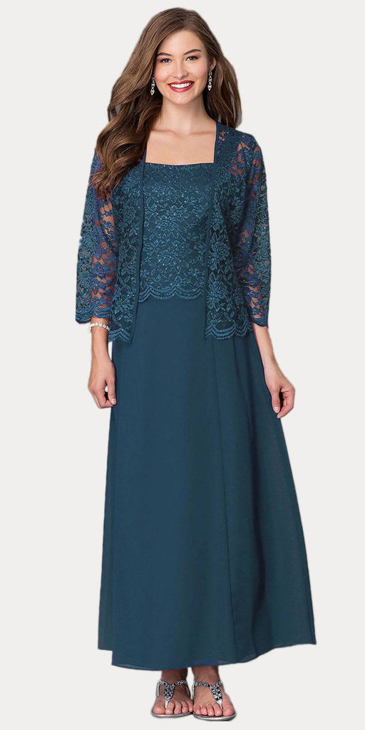 Long Chiffon Teal Mother of Groom Dress Lace 3/4 length Sleeve Jacket