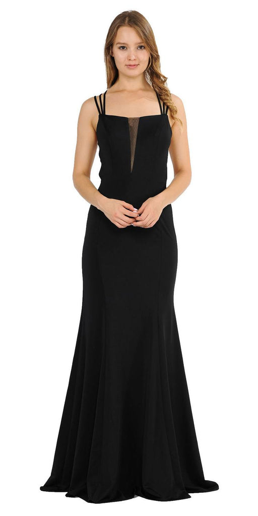 Poly USA 8468 Black Long Prom Dress with Strappy Open-Back