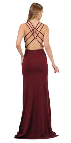 Poly USA 8468 Burgundy Long Prom Dress with Strappy Open-Back