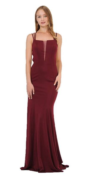 Burgundy Long Prom Dress with Strappy Open-Back