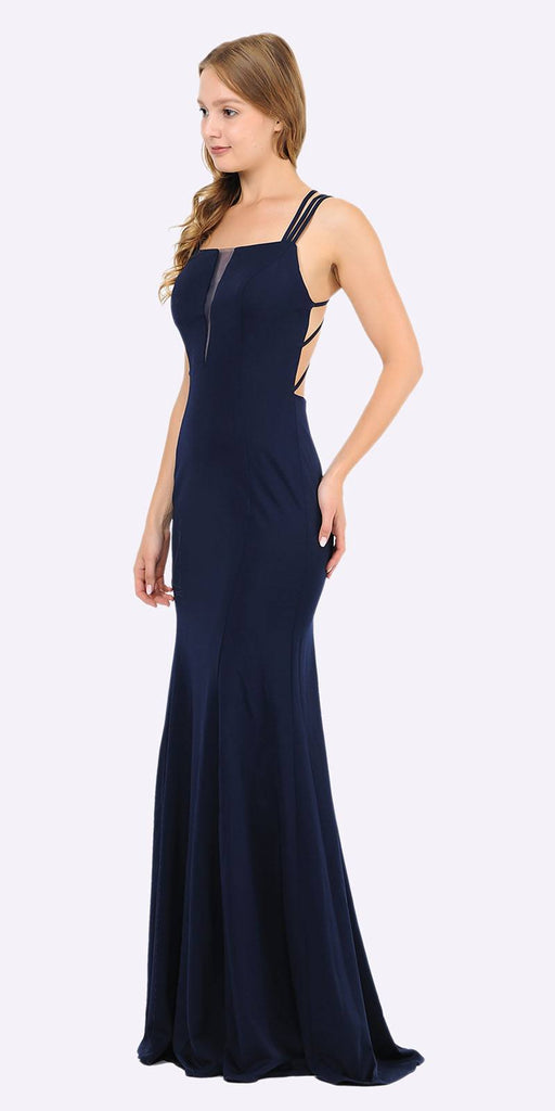 Poly USA 8468 Navy Blue Long Prom Dress with Strappy Open-Back