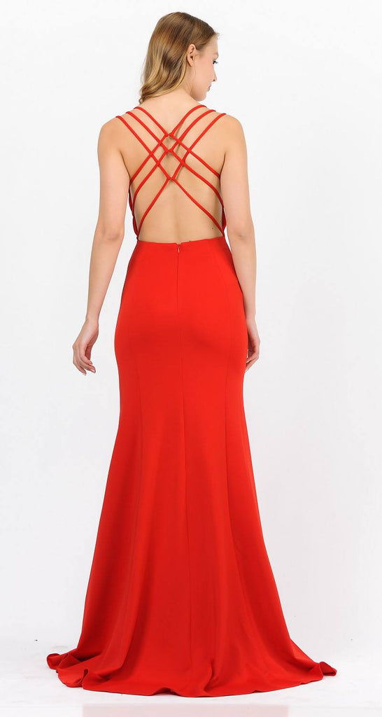 Poly USA 8468 Red Long Prom Dress with Strappy Open-Back