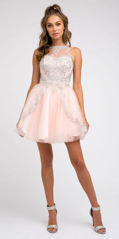 High-Neck Embroidered Homecoming Short Dress Blush