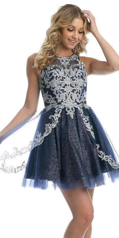 High-Neck Embroidered Homecoming Short Dress Navy Blue