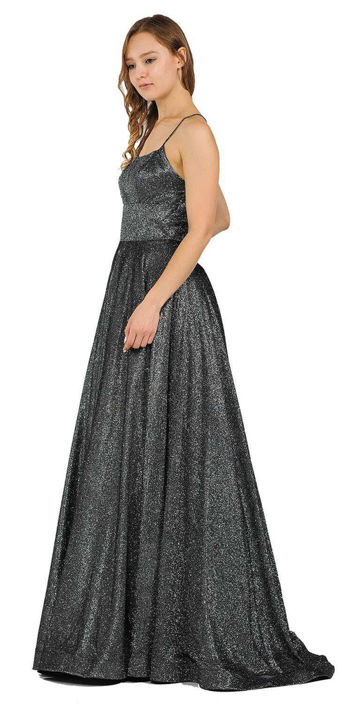 Spaghetti Straps Long Prom Dress Black/Silver with Pockets