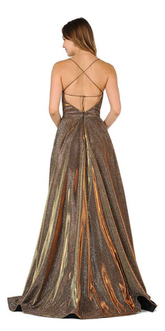 Spaghetti Straps Long Prom Dress Bronze with Pockets
