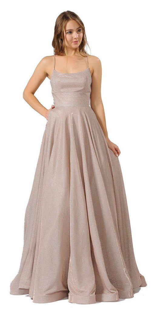 Spaghetti Straps Long Prom Dress Rose with Pockets