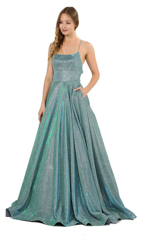 Spaghetti Straps Long Prom Dress Teal Green with Pockets