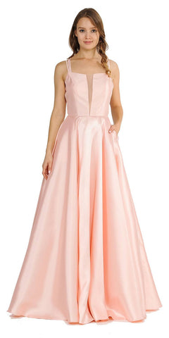 Blush A-Line Long Prom Dress Strappy Back