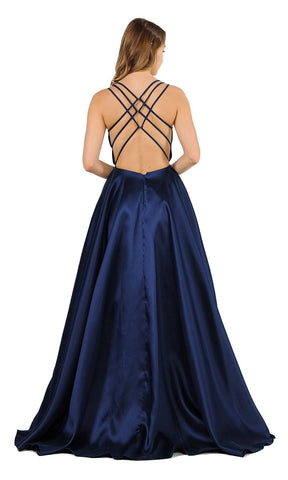 Navy Blue A-Line Long Prom Dress Strappy Back