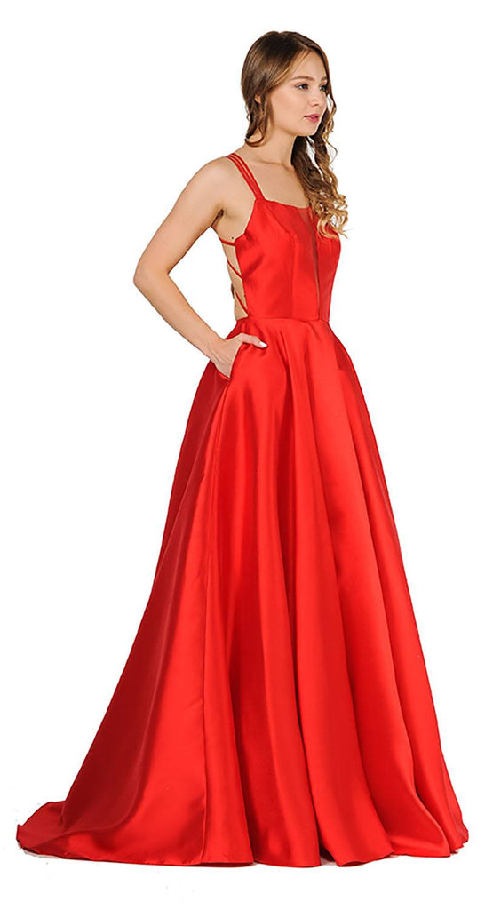 Red A-Line Long Prom Dress Strappy Back