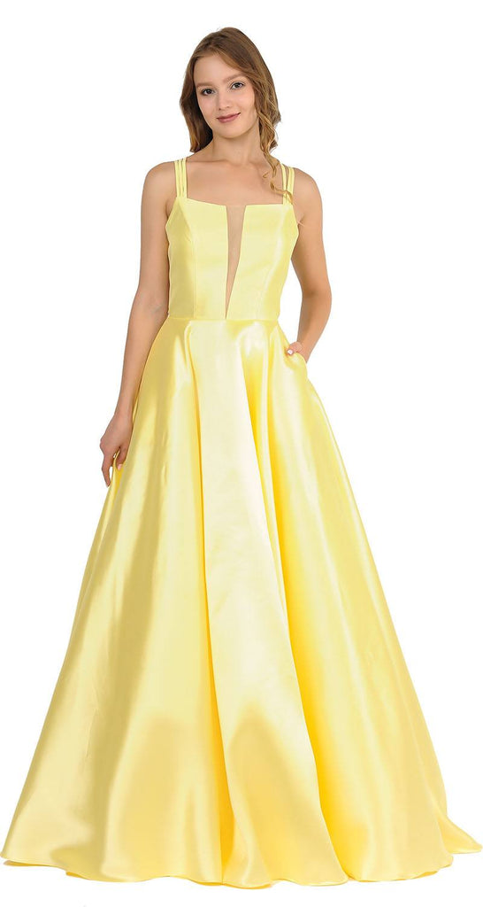 Yellow A-Line Long Prom Dress Strappy Back