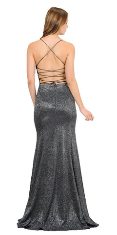 Black/Silver Mermaid Style Glitter Long Prom Dress